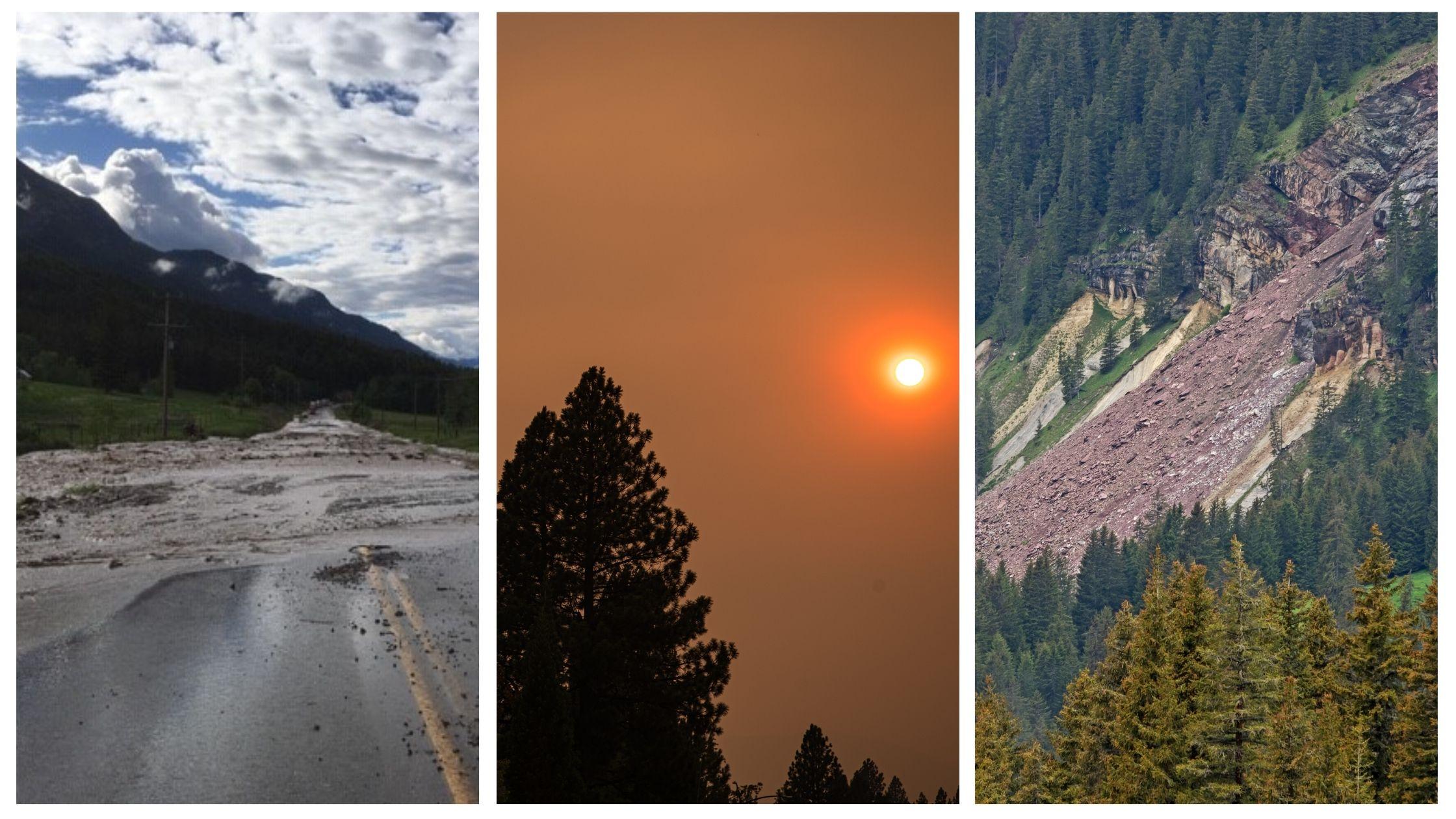 Flooding, wildfire smoke and landslide