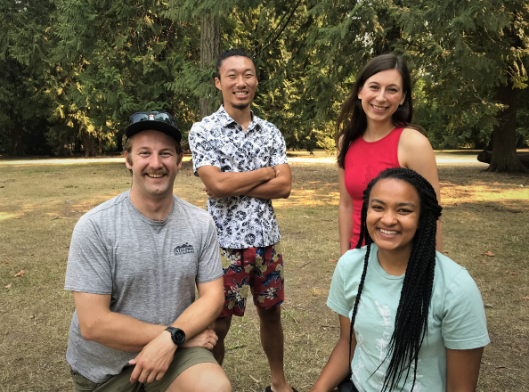 Summer students in front of trees from bottom left clockwise: Jack Jones, Russell Chiong, Jenna Jeffrey & Rebekah Smith