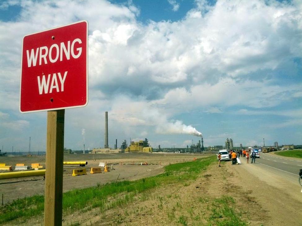 Wrong Way Sign - AB Tar Sands