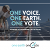 """Workers installing solar panels with text overlay: """"One Voice. One Earth. One Vote."""""""